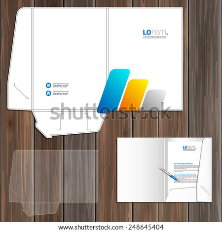White folder template design for corporate identity with blue and yellow geometric elements. Stationery set