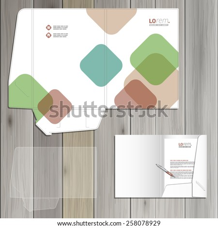 White folder template design for corporate identity with color square elements. Stationery set