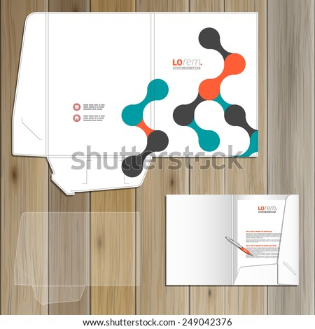 White folder template design for corporate identity with geometric pattern. Stationery set