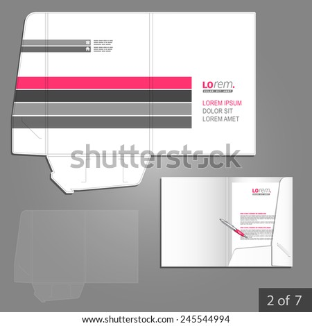 White folder template design for corporate identity with pink and gray lines. Stationery set