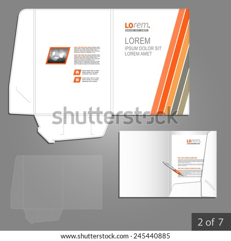White folder template design for corporate identity with red and gray lines. Stationery set