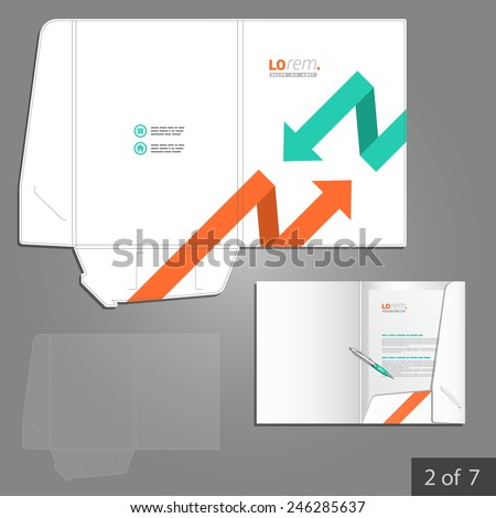 White folder template design for corporate identity with red and green arrows. Stationery set
