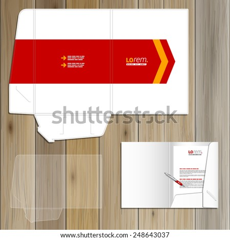 White folder template design for corporate identity with red arrow. Stationery set