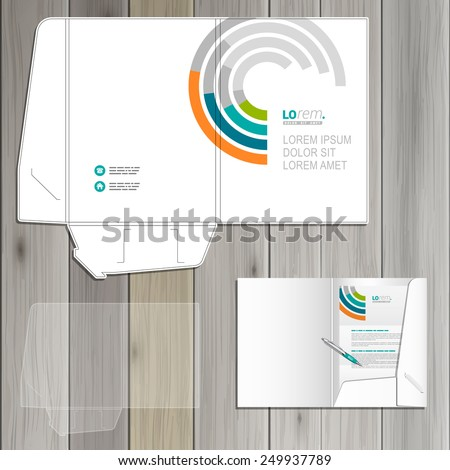 White folder template design for corporate identity with round color elements. Stationery set