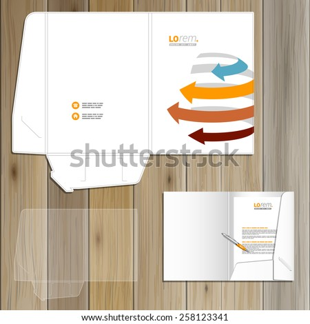White folder template design for corporate identity with sphere and color arrows. Stationery set