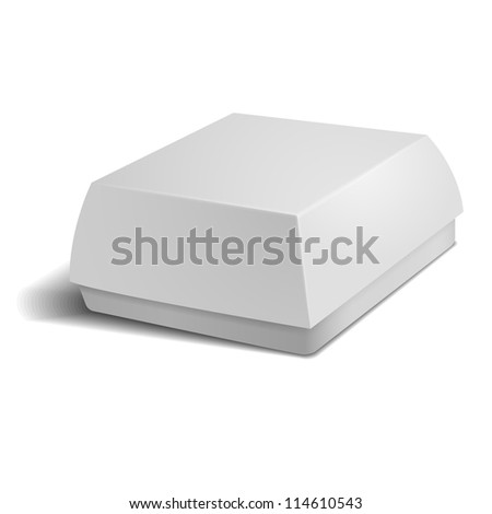 White food box packaging for hamburger lunch