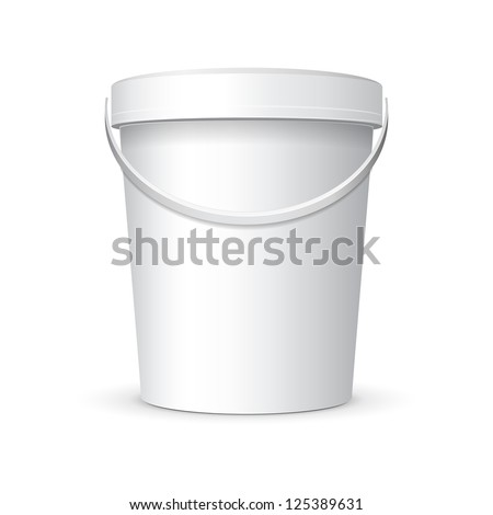 White Food Plastic Tub Bucket Container With Handle For Dessert, Yogurt, Ice Cream, Sour Sream Or Snack. Ready For Your Design. Product Packing Vector EPS10
