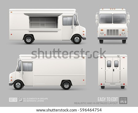 White Food Truck Hi-detailed vector template for Mock Up Brand Identity. Realistic Delivery Service Vehicle isolated on grey background for Advertising design - Shutterstock ID 596464754