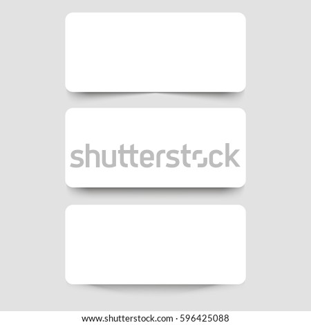 White frame banners with shadows on the gray background. Vector illustration. White paper cards template. Realistic vector mock up #596425088