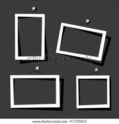 white frames on the black wall. vector illustration.