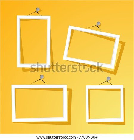 white frames on the yellow wall. vector illustration.