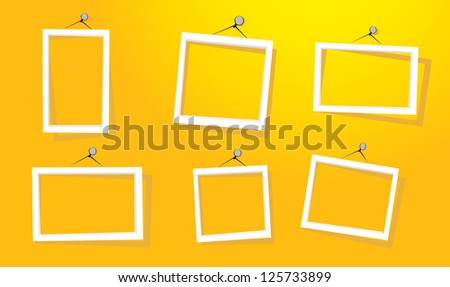 white frames on the yellow wall vector illustration cut paper design frame - Yellow Picture Frames