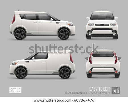 White Freight Suv Car template for Advertising and Corporate Identity Mockup Template. Hi-detailed Cargo Delivery Van Isolated on grey background. Front and back view Realistic vector Vehicle