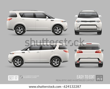 white freight suv car template