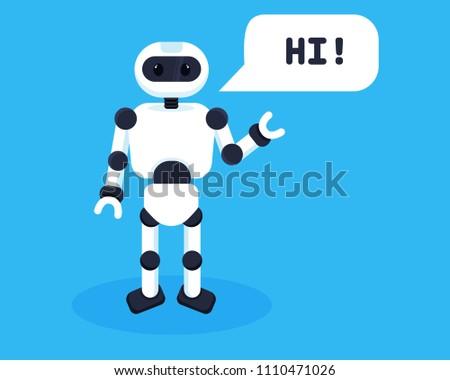 white friendly robot says hi