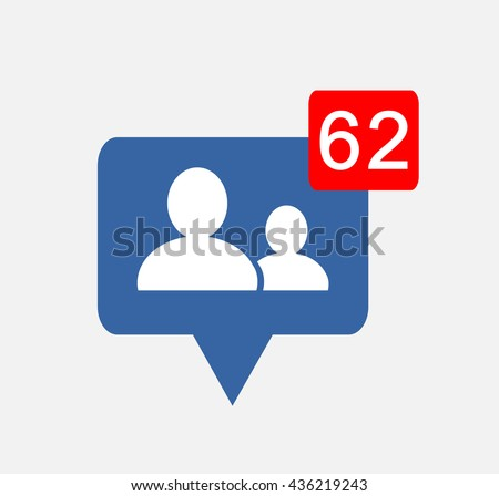 White  friends people  Follower isolated counter notification  Vector Logo, JPG, JPEG, EPS. Icon Button.Flat Social Media Sign