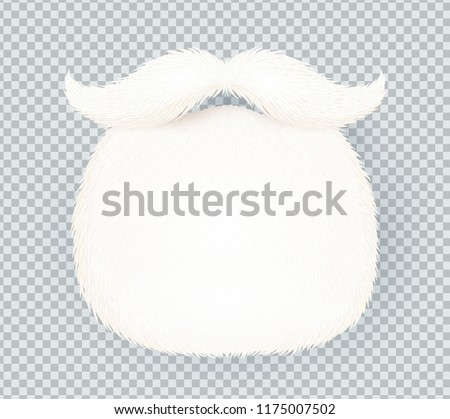 White furry vector Santa Claus beard isolated on transparency grid imitation background