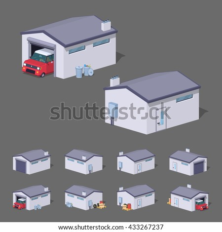 White garage. 3D lowpoly isometric vector illustration. The set of objects isolated against the grey background and shown from different sides