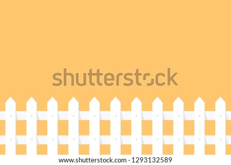 White garden fence on orange background in flat style.
