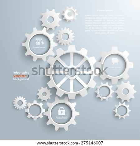 White gears with centre on the gray background. Eps 10 vector file.
