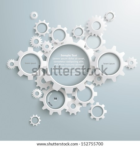 White gears with on the grey background. Eps 10 vector file.