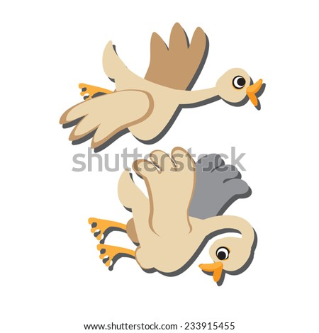 White geese. Two cute fat bird flying. Farm animal silhouette.Vector illustration.Eps 10.On white background.