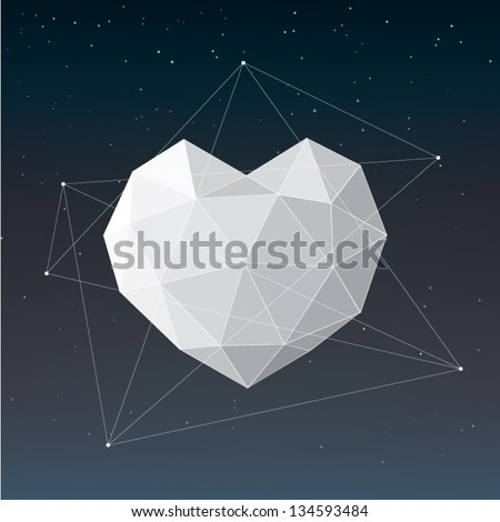 white geometric heart background