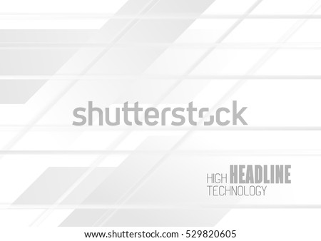 White geometric technology abstract background. Vector grey stripes design brochure