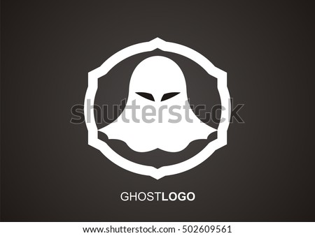 white ghost logo isolated on