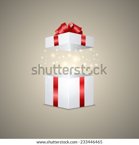White gift box with a magic effect. Vector illustration.