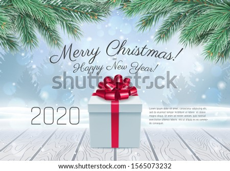 White gift box with a red bow standing on wooden table. Chrismas gift against a winer background with snowfallen and fir-tree spruce. Xmas and Happy New Year banner 2020. Holyday vector background