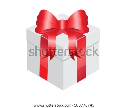 white gift box with a shiny red bow
