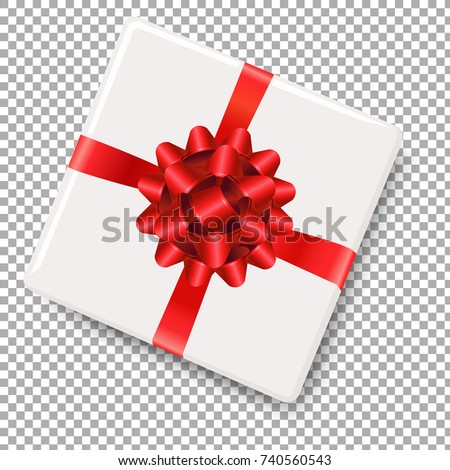 White Gift Box With Red Bow With Gradient Mesh, Vector Illustration