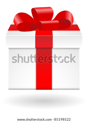 White gift box with red ribbon on white background. Vector.