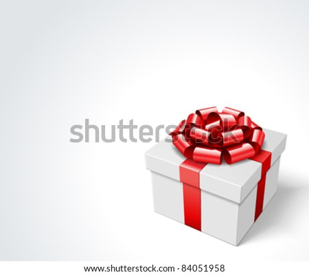 White gift box with white ribbon. Vector background eps 10.