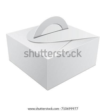 White Gift Packaging Box with Handle mockup for Cake. Paperboard Packaging Container Template for Wedding Party Decoration for your design