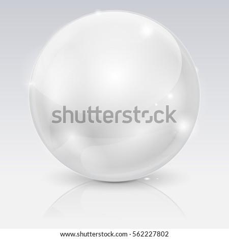 white glass ball 3d shiny