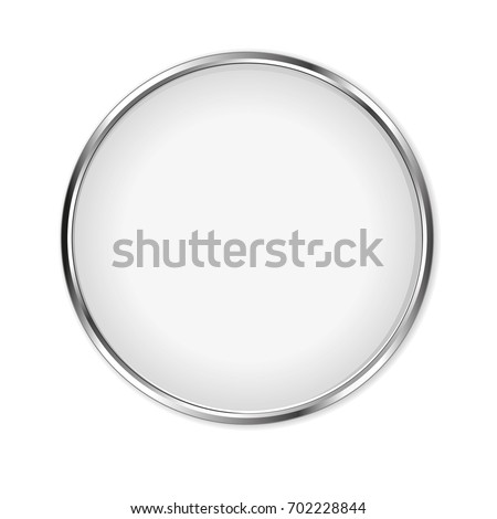 White glass button isolated on white background