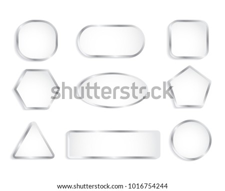 White glass buttons with chrome frame. Vector illustration #1016754244