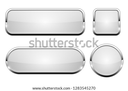 White glass 3d buttons. With chrome frame. Set of web icons. Vector illustration isolated on white background