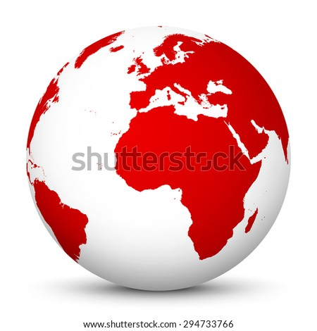 white globe with red continents
