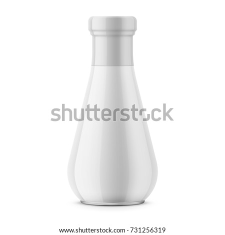 White glossy glass bottle with neck shrink sleeve. For sauce, tomato ketchup, condiment. 310 g. Realistic packaging mockup template. Front view. Vector illustration.