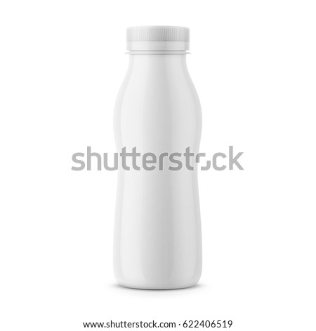 White glossy plastic bottle with screw cap for dairy products milk, drink yogurt, cream, dessert. 290 g. Realistic packaging mockup template. Front view. Vector illustration.
