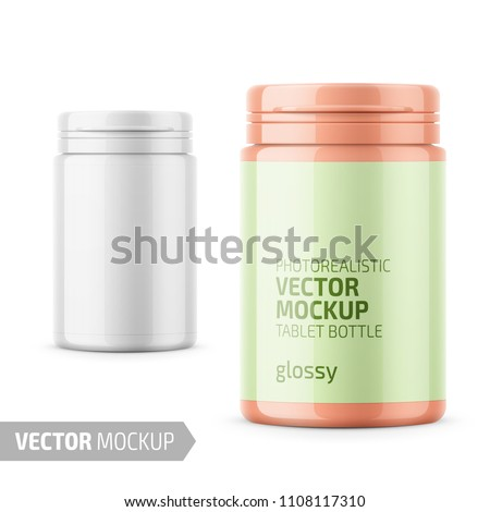 White glossy plastic bottle with snap hinge push on cap for medicine, tablets, pills. Photo-realistic packaging mockup template with sample design. Front view. Vector 3d illustration.