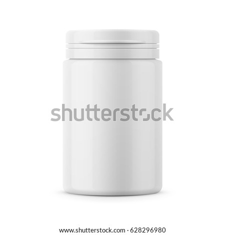 White glossy plastic bottle with snap hinge push on cap for medicine, tablets, pills. Realistic packaging mockup template. Front view. Vector illustration.
