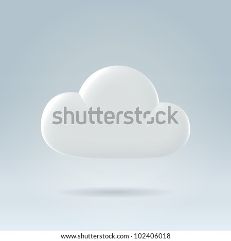 White glossy plastic digital cloud concept illustration