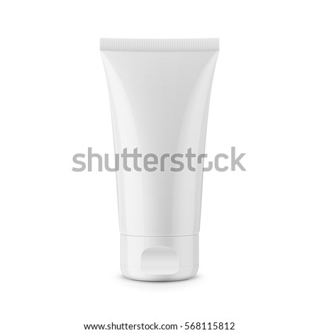 White glossy plastic tube for medicine or cosmetics - cream, gel, skin care, toothpaste. Realistic packaging mockup template. Side view. Vector illustration.