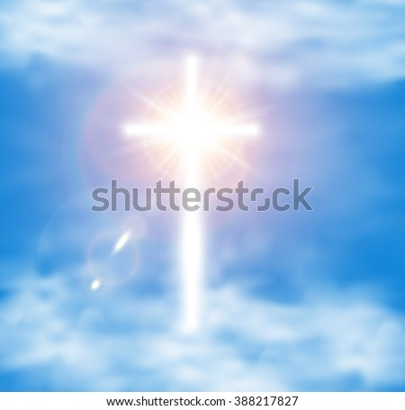 White Glow Cross with Flare in Sky Cloud. Holy Glory Easter Shine Background. Christian Symbol Light Radiance Ray. Paradise hope concept