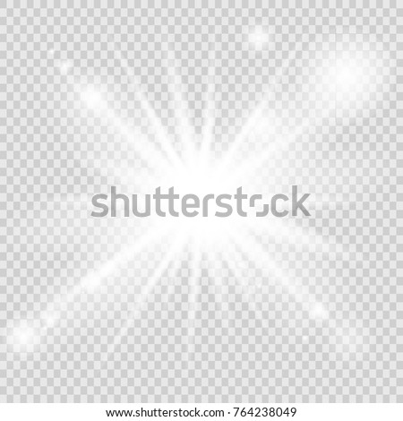 White glowing light burst explosion on transparent background. Vector illustration. Transparent shine gradient glitter, bright flare. Glare texture.