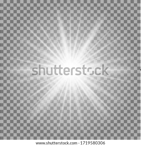 White glowing light burst explosion transparent. Vector illustration for cool effect decoration with ray sparkles. Bright star. Transparent shine gradient glitter, bright flare. Glare texture. Foto stock ©